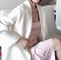 New Thick Double Sided Milky White Cashmere Fabric Coat Garment Material