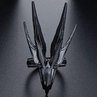 Dragón dominante cabeza de Metal negro Punk anillo de apertura para los hombres de dedo ajustable anillos fiesta joyería de regalo para cumpleaños