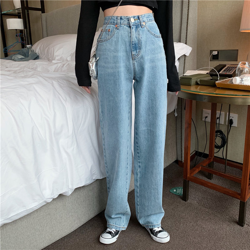 HziriP New Slender Women Light Washed 2019 Large Size Fashion Loose All-Match Autumn Straight High Waist   Jeans   Denim Trousers