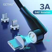 GETIHU 3A 540 ° kabel magnetyczny Micro USB typ C szybka ładowarka magnes ładowarka przewód danych dla iPhone 12 11 Pro Max Samsung Xiaomi 10