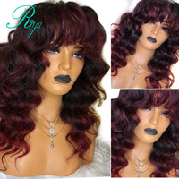 13X6 Deep Invisible Burgundy 1B99J Ombre Color Lace Front Human Hair Wigs With Bangs Preplucked Closure Wavy Wig Indian Remy
