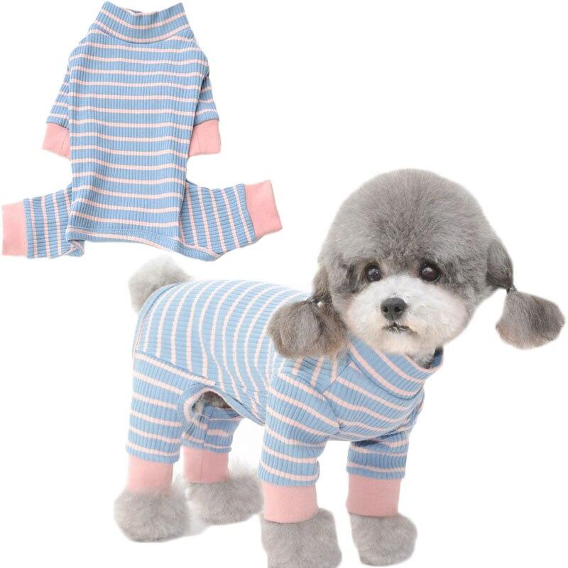 Strips Dog Clothes Cat Jumpsuit High Collar Long Sleeve 4-legs Shirt Sweatshirt Pajamas For Small Dogs Pug Sleepwear Overalls XL