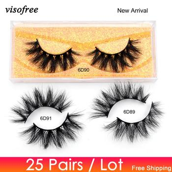 Visofree 25 pairs Mink Lashes 6D Mink Eyelashes 20mm Lashes Wholesale 3D Mink Lashes Bulk False Eyelash Lashes Boxes Packaging