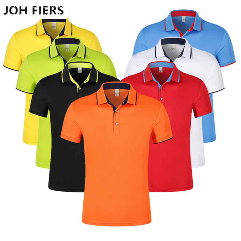 JOH FIERS Summer Mercerized Cotton   Polo   Shirt Men Casualwear Short Sleeve Solid Color Breathable   Polo   Shirts 7 Color S-3xl Size