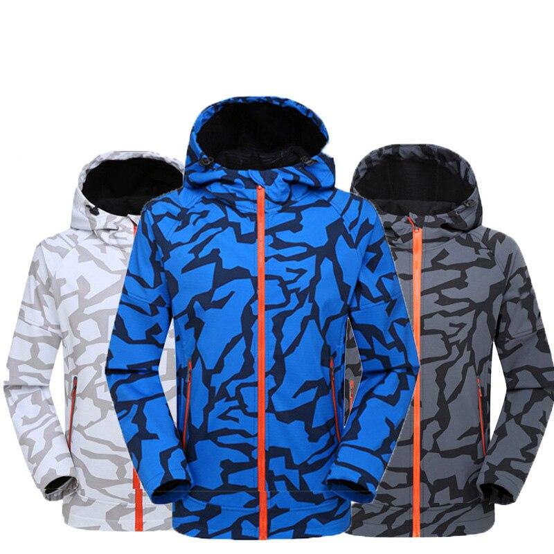Softshell Jacket Men Windproof Waterproof Jacket Hunting Windbreaker Rain Jacket Outdoor Camping Trekking Hiking Fleece Jacket