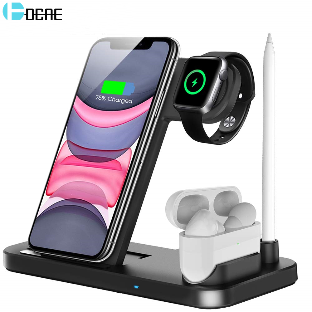 DCAE Wireless Charger QI 4 in 1 10W Fast Charging Dock Station for Apple Watch 5 4 3 2 Airpods Pro iPhone 11 XS XR X 8 Stand Pad