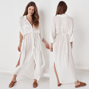 Image 3 - 2020 Summer Women Plus Size Beachwear Cover ups White Cotton Tunic Beach Wrap Bath Dress Swim Suit Bikini Cover Up Woman #Q717