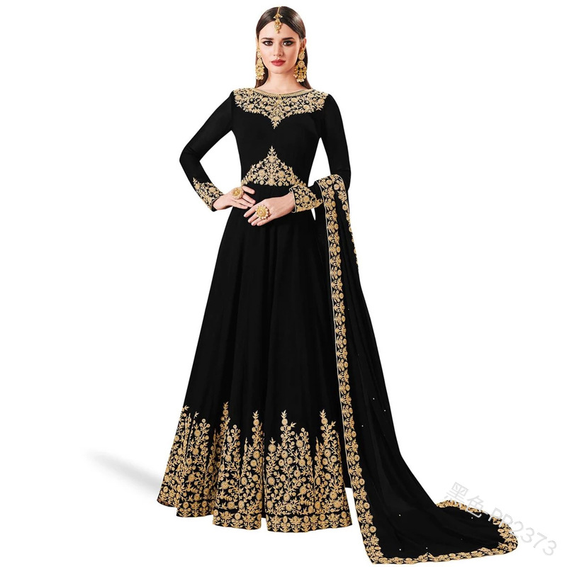 Women Fashion 2 Pcs Set Muslim Dress Plus Size Elegant Floral Embroider Long Sleeve Abaya Style