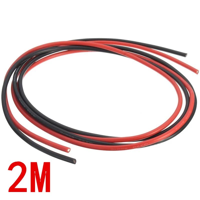 Câbles dorigine jauge AWG caoutchouc de Silicone câble souple rouge et noir Flexible 12 14 16 18 20 26 28 30AWG fil électrique