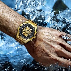 Image 5 - זוכה הרשמי בציר Mens שעונים למעלה מותג יוקרה אוטומטי מכאני שעון גברים נחושת פלדת רצועת שלד שעוני יד צבא
