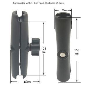 Image 5 - Bras de Double douille dalliage daluminium de longueur de 15CM pour la RAM avec le bras dextension de caméra de moto de bâti de Base de boule de 1 pouce