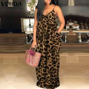 Party Long Maxi Dress Women'Summer Sundress VONDA 2020 Spaghetti Strap Leopard Print Party Dress Long Robe Vestido Plus Size