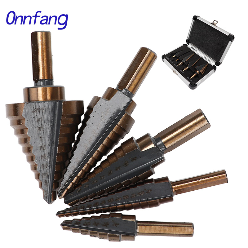 Onnfang 5pcs Triangle Shank HSS COBALT MULTIPLE HOLE More Sizes Step Drill Bit Solid Carbide Mini Drill Accessories