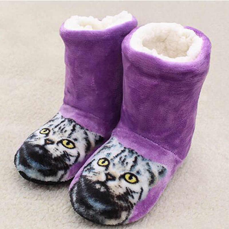 Kadın orta buzağı çizmeler kadın süper sıcak peluş kürk kış ayakkabı bayanlar sevimli kedi düz kadın rahat kürklü kayma üzerinde kadın botları