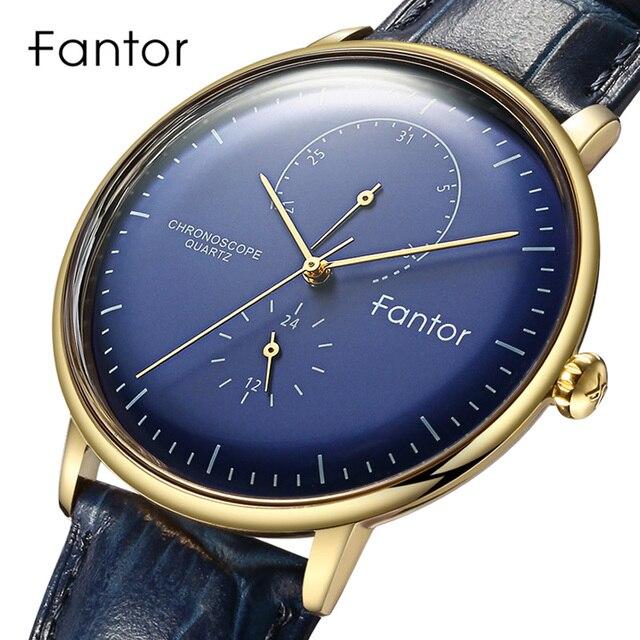 גברים שעון Fantor יוקרה מקרית עור 2019 הכרונוגרף קוורץ עמיד למים Mens שעוני יד למעלה מותג Man שעון שעונים עבור גברים