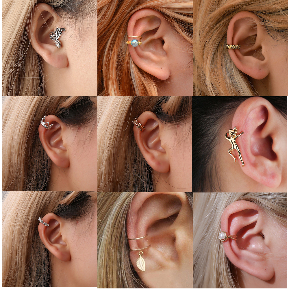 Personalized Fashion Earmuffs Gold Leaf Beads Ear Clips Ladies Earrings Earrings Without Piercing Fake Cartilage Earring Jewelry