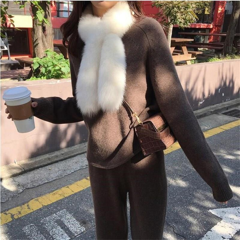 Women Sweater Two Piece Knitted Sets Solid Slim Tracksuit Autumn Winter Fashion Sweatshirts Sporting Suit Female