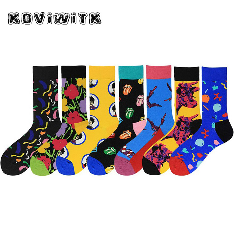 Winter Hip-hop Tiger Socks Men Animal Cotton Casual Flower Pattern Print Middle Tube Sox Warm Fashion Street Boy Sock Funny Art