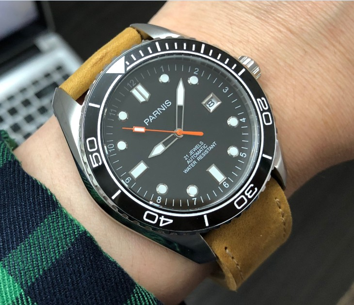 45mm Parnis Sapphire Crystal Japanese Automatic Self-Wind Movement Mechanical watches Black ceramic Bezel Men's watches rnm03a