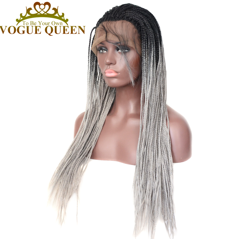 Vogue Queen T1b Grey Synthetic Lace Front Wig Long Wig Heat Resistant Fiber Daily Wearing For Women