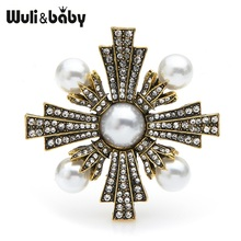 Wuli&baby Vintage Pearl Cross Brooches Women Retro Gold Rhinestone Baroque Style Weddings Banquet Brooch Pins Gifts