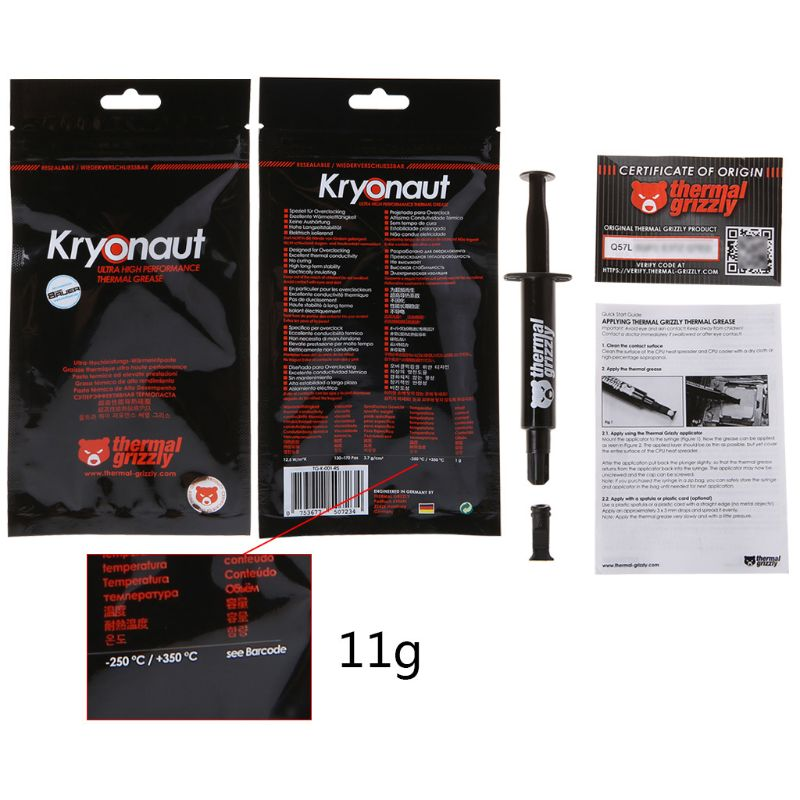 11G Thermische Grizzly Kryonaut Cpu Processor Heatsink Fan Koelpasta Koelpasta