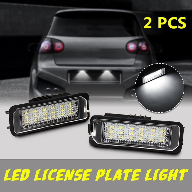 2 pces 12 v 5 w conduziu a luz da placa de licença do número lâmpadas para vw golf 4 6 polo 9n para o acesso exterior das luzes da placa de licença do carro de passat