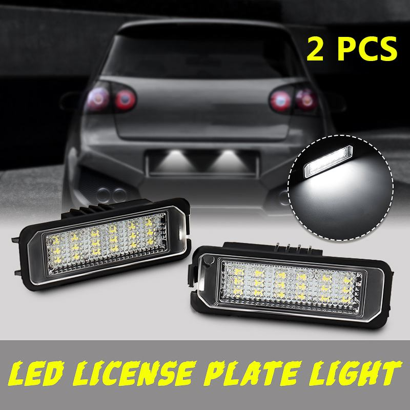 2Pcs 12V 5W LED Number License Plate Light Lamps for VW GOLF 4 6 Polo 9N for Passat Car License Plate Lights Exterior Access|License Plate| |  - title=