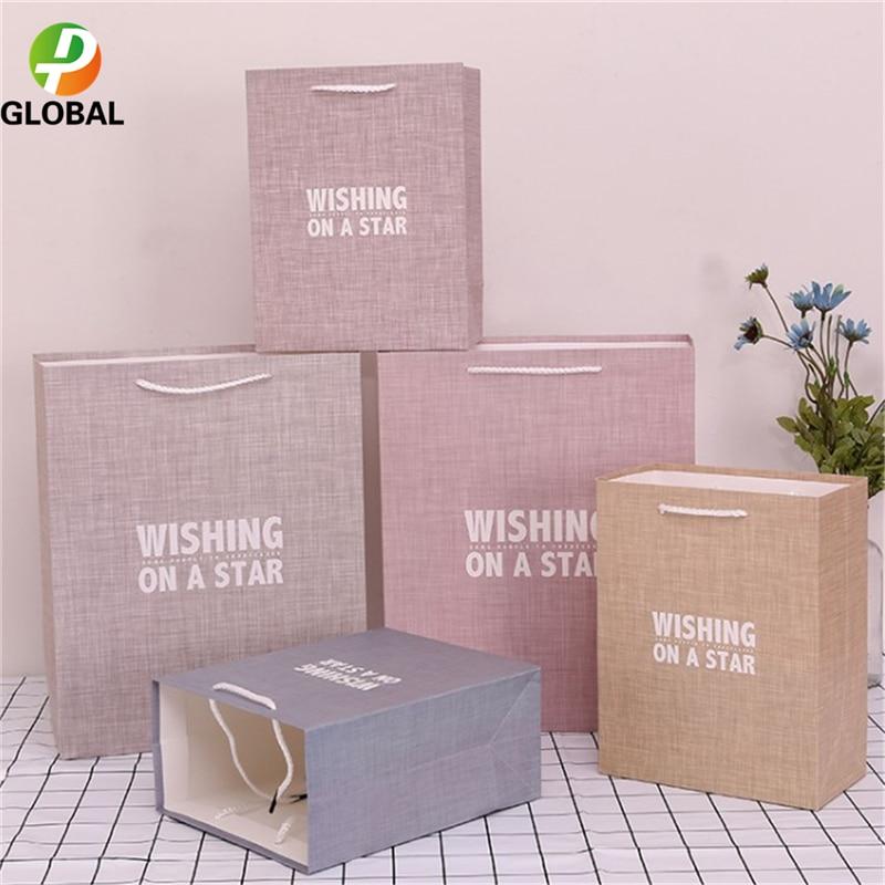 D&P 50pcs Wedding Gift Bag Paper Bag Hand Gift Bag Birthday Party Paper Bag Tote Can Be Customiz 18*23*10cm /26*32*12 cm - 5
