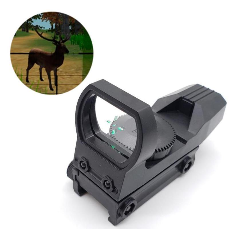 20mm 레일 라이플 스코프 사냥 광학 홀로그램 레드 닷 시력 반사 4 레티클 전술 범위 콜리메이터 시력 플라스틱