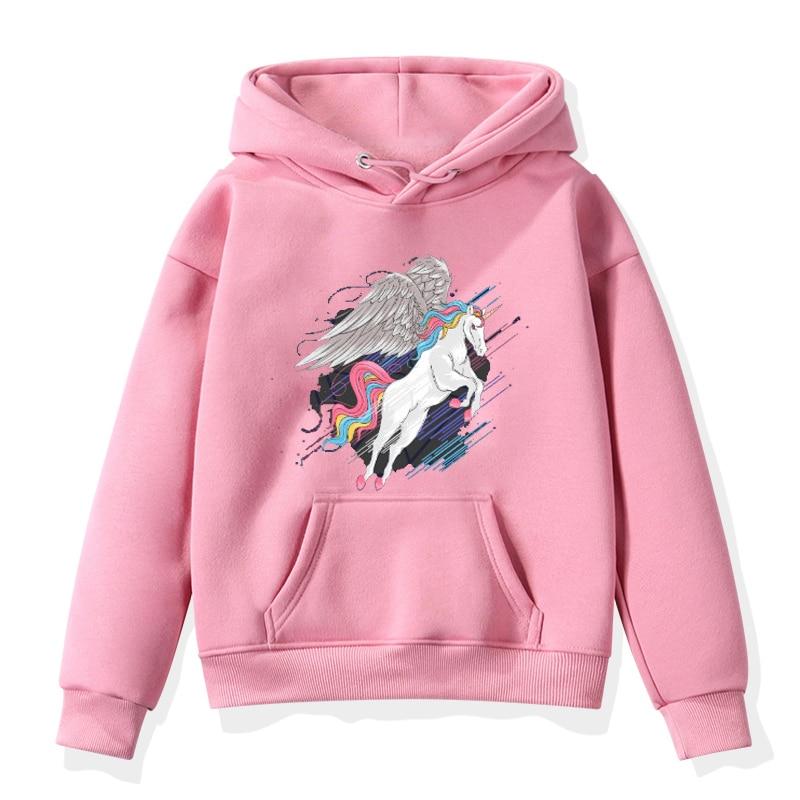 Fashion Unicorn Print Sweater Toddler Boys Girls Sweatshirt Casual Hoodies Baby Winter Warm Long Sleeve Hooded Children Clothes
