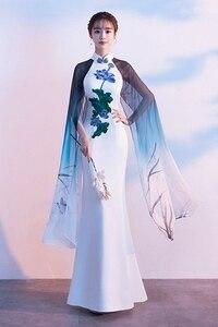 Freeship white mermaid dress lotus embroidery veil sleeve dream fairy long dress studio/stage/chorus/Victorian dress