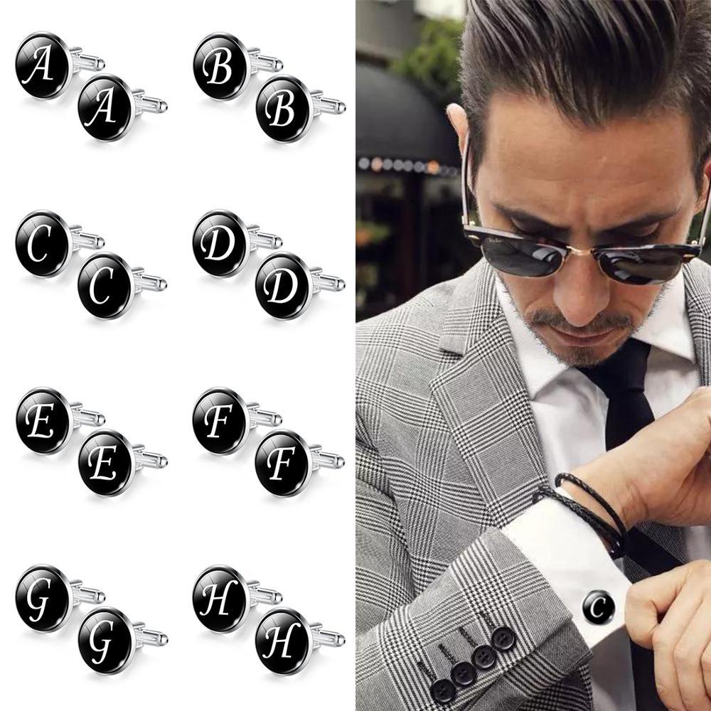 Jiayiqi Trendy Men Cufflinks A-Z Single Alphabet Shirt Cuff Button Business Cuff Links Silver Color Male Cufflinks Wedding Gifts