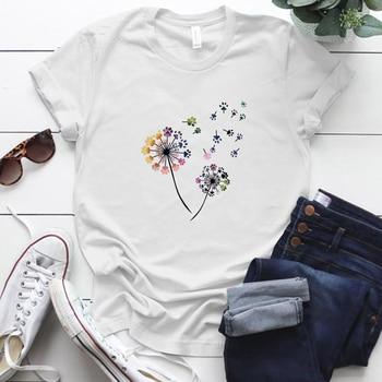 Color Dandelion Printed T Shirt Women Plus Size Summer Funny 90s T Shirt Female Short Sleeve Tops Girl Clothing,Drop Ship mesh panel plus size girl face t shirt