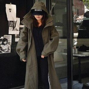 Image 4 - LANMREM ejército verde con capucha de manga larga de bolsillo de un solo pecho suelta cazadora mujer Casual moda 2020 primavera abrigo nuevo TV863
