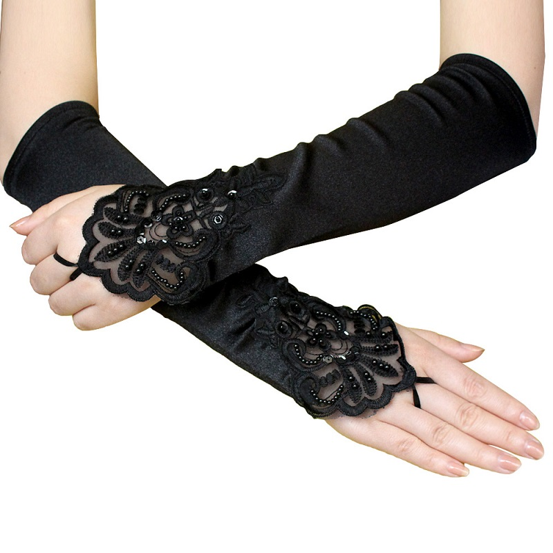 Prom Bride Satin Women' Wedding Gloves Fingerless Sequins Gloves Floral Embroidery Lace Hookfinger Black Gloves ST289