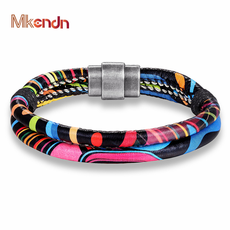 MKENDN Rainbow Men Women Bracelet Bangle Multilayer Leather Bracelets Magnet Buckle Fashion Rope Wrap bracelet