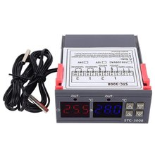 12/24/110-220V Dual LED Probe Temperature Controller Thermostat Control Meter With Display STC-3008