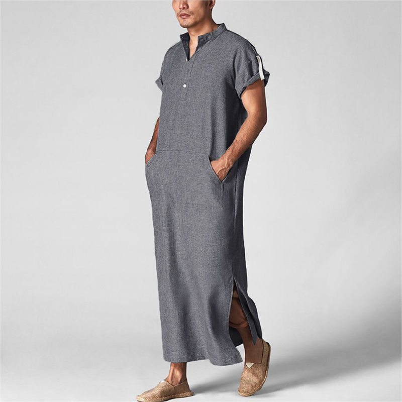 INCERUN Men Islamic Arab Muslim Kaftan Stand Collar Short SLeeve Pockets Vintage Robes Middle East Solid Men Jubba Thobe S-5XL