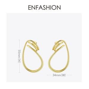 Image 4 - ENFASHION 불규칙한 곡선 라인 드롭 귀걸이 여성을위한 골드 컬러 단순 매달아 귀걸이 패션 주얼리 Dropshippping E191143