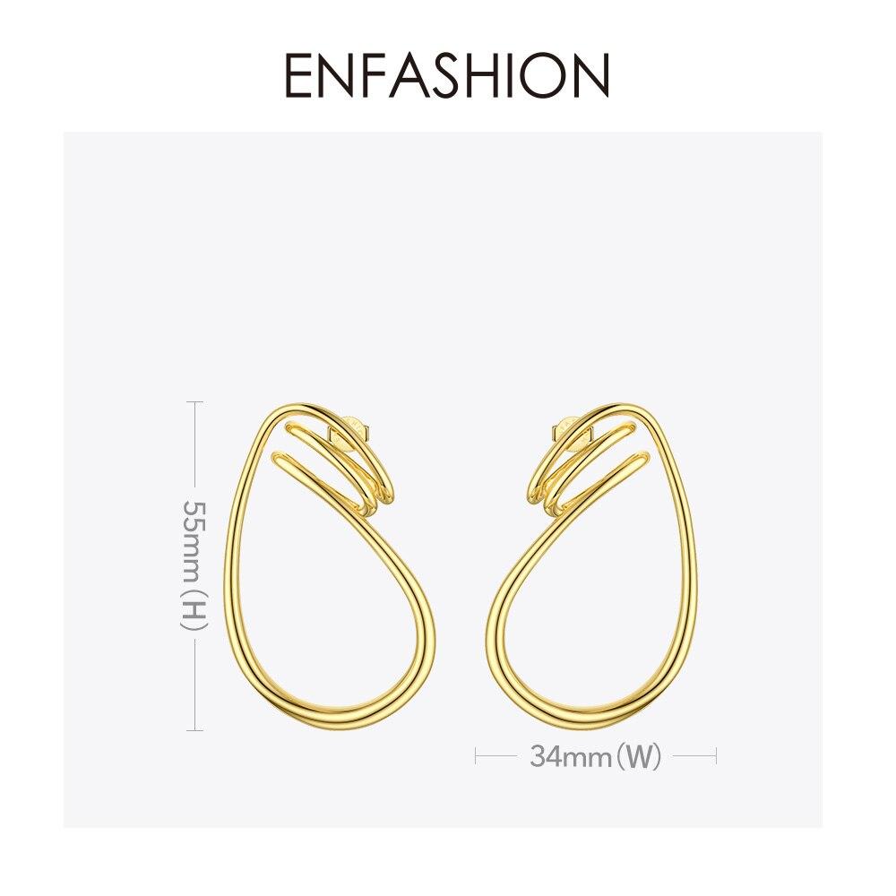 Image 4 - ENFASHION Irregular Curve Line Drop Earrings For Women Gold Color Simple Dangle Earings Fashion Jewelry Dropshippping E191143Drop Earrings   -