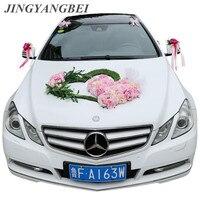 Wedding car decoration set lawn green plant heart shaped artificial flower 4 colors rose eucalyptus