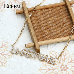 Image 2 - DOREMI 9mm Crystal Pendant Letters Necklace for Women Custom Jewelry Custom Name Necklaces Numbers Personalized Zirconia Pendant