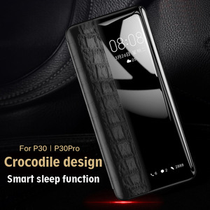Image 4 - En Cuir véritable étui pour huawei P30/P30 Pro Vpower Fenêtre Smart View de Grain de Crocodile En Cuir Flip etui téléphone huawei P30/P30 Pro