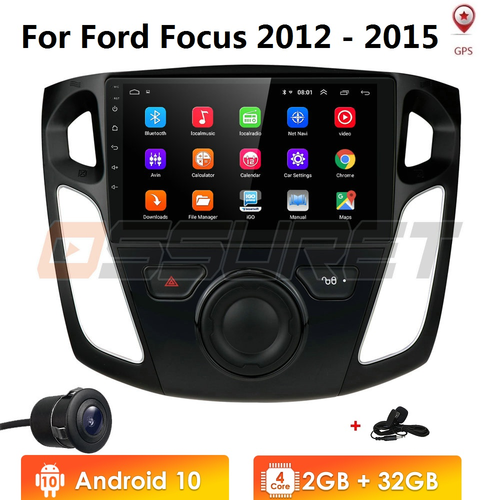 Android 10 9 inch 2GB 2 din Touch Screen 1080p HD car gps multimedia radio <font><b>navigation</b></font> player for <font><b>ford</b></font> <font><b>focus</b></font> 3 salon 2012-2015 image