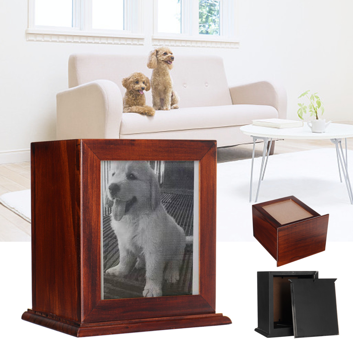 Black/Red Wooden Pet Urn Box Dog Cat Cremation Urn Peaceful Memorial Photo Frame Keep Box For Dog Quiet Home Place