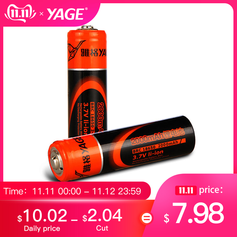 YAGE Original 18650 Battery 3.7V Real 1800mAh*2*4 Rechargeable 18650 Lithium Explosion Relief Valve For Flashlight Batteries