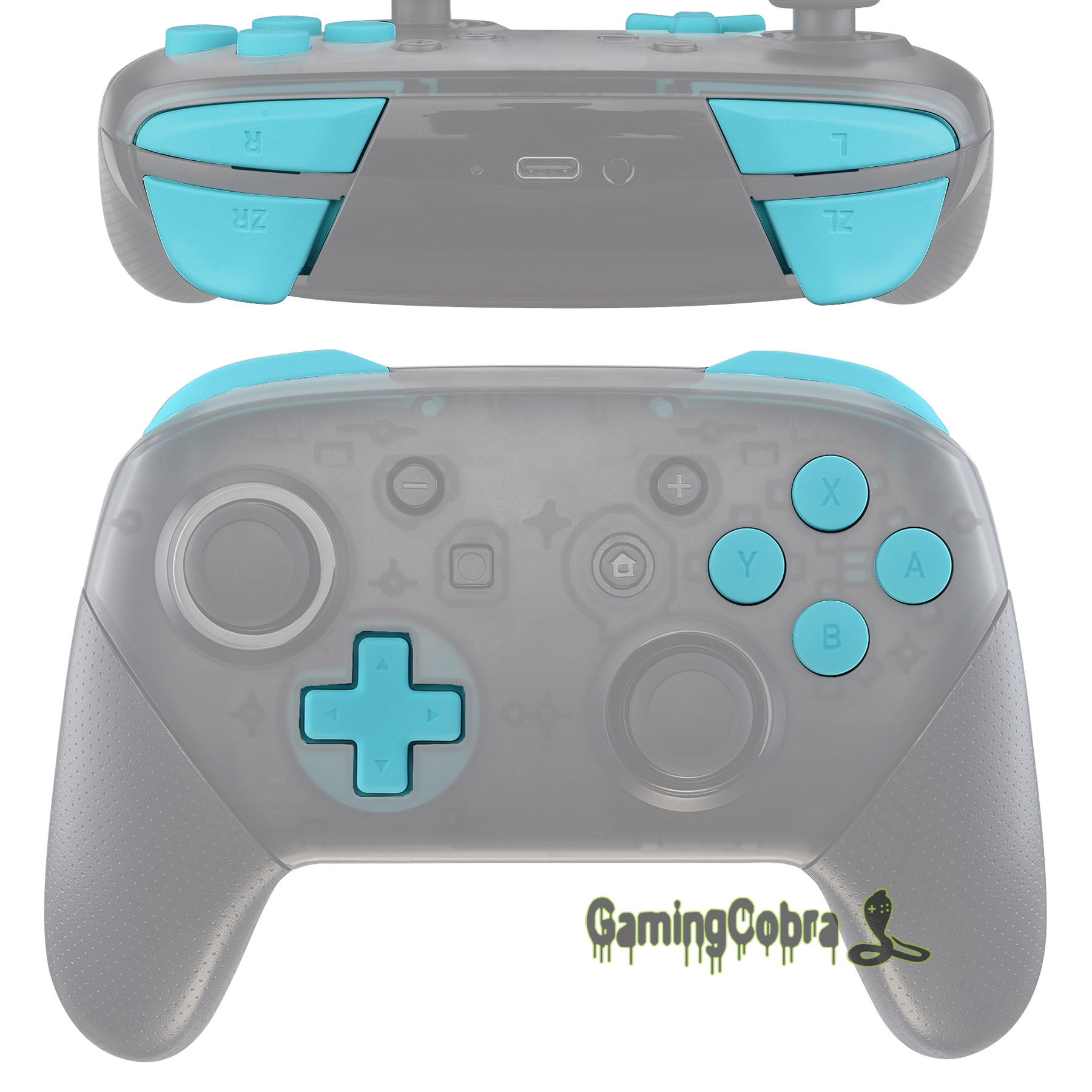 Soft Touch Heaven Blue Repair ABXY D-pad ZR ZL L R Keys Replacement Full Set Buttons W/ Tools For Nintendo Switch Pro Controller