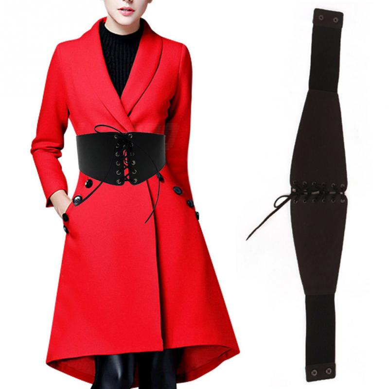 Fashion Women Faux Leather Girdle Belt Elastic Cinched Belt Pin Up Bodyshape Adjustable Corset Belly Band Accessories