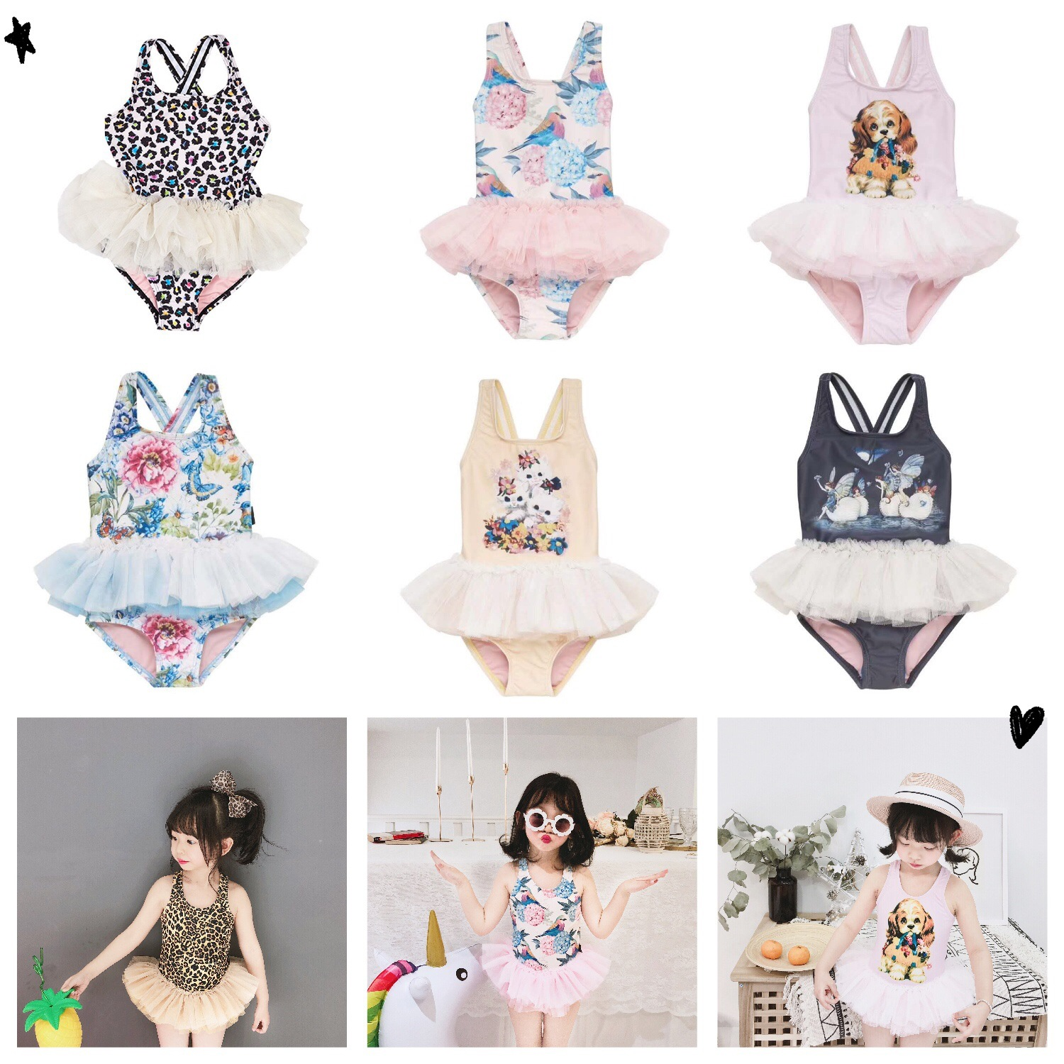 INS New Style 2019 Summer Ballet Bikini Flowers And Birds Gauze Girls Baby Korean-style One-piece Swimming Suit Swimming Cap